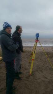 Prof Tom Coulthard and Dr Stuart McLelland laser scanning Spurn Point